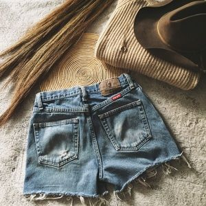 Distressed wrangler cut off shorts